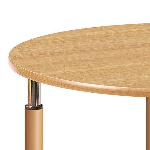 介護テーブル 天板上下昇降式 円形テーブル 2本キャスター脚・2本固定脚 UFT-1212RB φ1200×H596~796(mm)商品画像5
