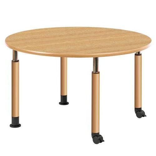 介護テーブル 天板上下昇降式 円形テーブル 2本キャスター脚・2本固定脚 UFT-1212RB φ1200×H596~796(mm)のメイン画像