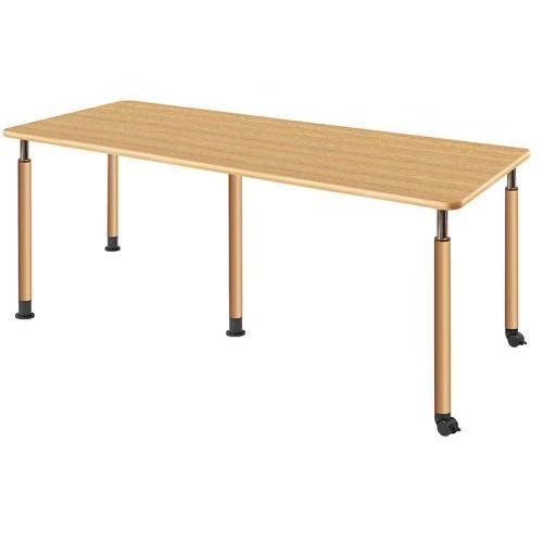 介護テーブル 天板上下昇降式 2本キャスター脚・2本固定脚(+補助固定脚1本) UFT-5T1875B W1800×D750×H596~796(mm)のメイン画像