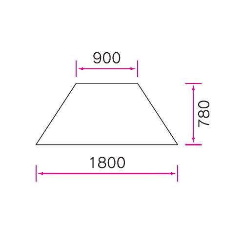 介護テーブル 天板上下昇降式 台形テーブル 4本キャスター脚 UFT-9018C W1800×D780×H596~796(mm)商品画像4