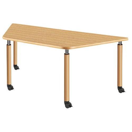 介護テーブル 天板上下昇降式 台形テーブル 4本キャスター脚 UFT-9018C W1800×D780×H596~796(mm)のメイン画像