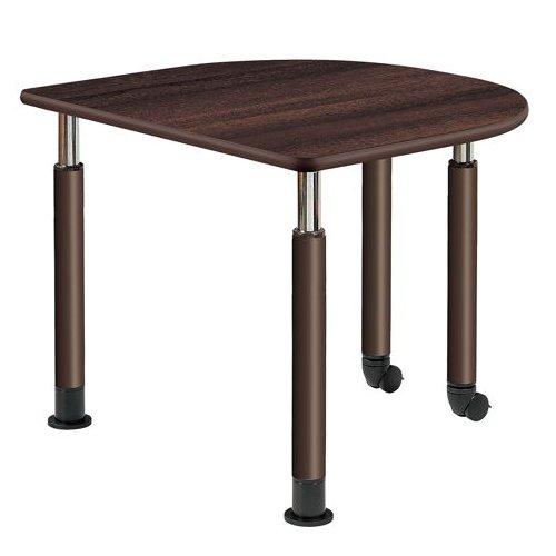 介護テーブル 井上金庫(イノウエ) 天板上下昇降式 半楕円形テーブル 2本キャスター脚・2本固定脚 UFT-9080HB W900×D800×H596~796(mm)のメイン画像