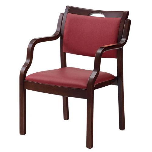 介護椅子 ダークブラウンフレーム 角背 木製チェア 手掛け付き UFW-C6D 肘あり商品画像2