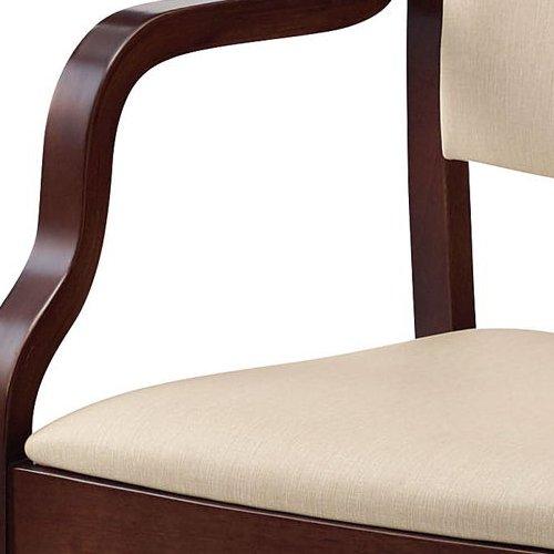介護椅子 ダークブラウンフレーム 角背 木製チェア 手掛け付き UFW-C6D 肘あり商品画像6