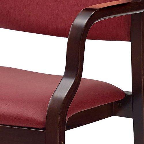 介護椅子 ダークブラウンフレーム 角背 木製チェア 手掛け付き UFW-C6D 肘あり商品画像8