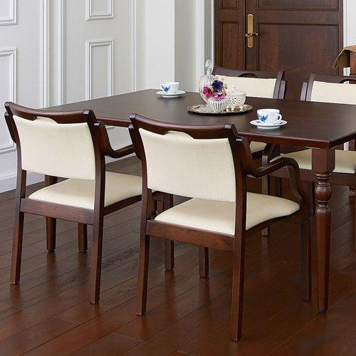 介護椅子 ダークブラウンフレーム 角背 木製チェア 手掛け付き UFW-C6D 肘あり商品画像9