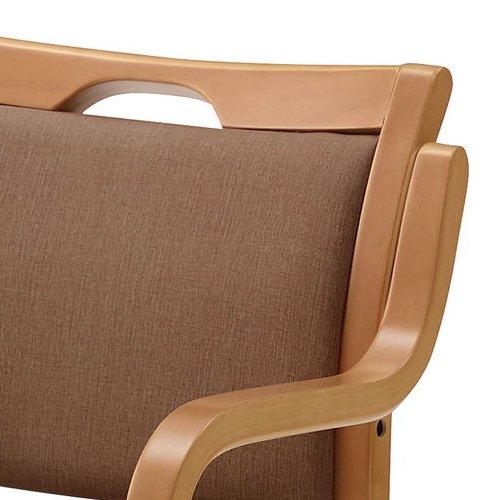 介護椅子 ナチュラルフレーム 角背 木製チェア 手掛け付き UFW-C6N 肘あり商品画像5