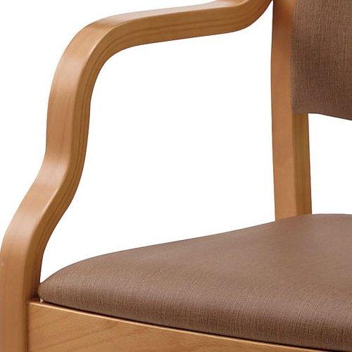介護椅子 ナチュラルフレーム 角背 木製チェア 手掛け付き UFW-C6N 肘あり商品画像6