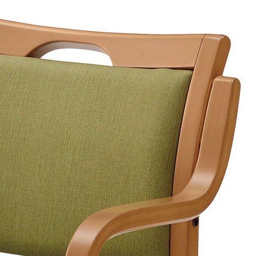 介護椅子 ナチュラルフレーム 角背 木製チェア 手掛け付き UFW-C6N 肘あり商品画像7