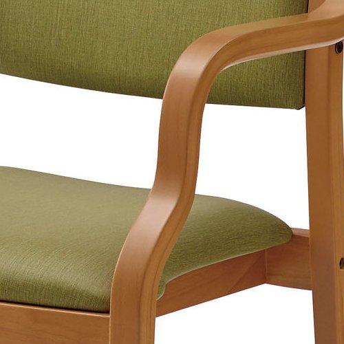 介護椅子 ナチュラルフレーム 角背 木製チェア 手掛け付き UFW-C6N 肘あり商品画像8