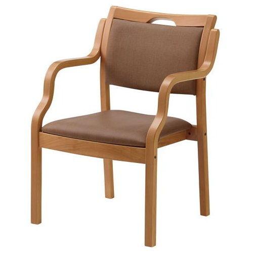 介護椅子 井上金庫(イノウエ) ナチュラルフレーム 角背 木製チェア 手掛け付き UFW-C6N 肘ありのメイン画像