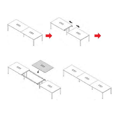 テーブル(会議用) 井上金庫(イノウエ) 増連セット W1200mm UTS-ZR1200 UTSテーブル(W3600×D1200)専用商品画像6