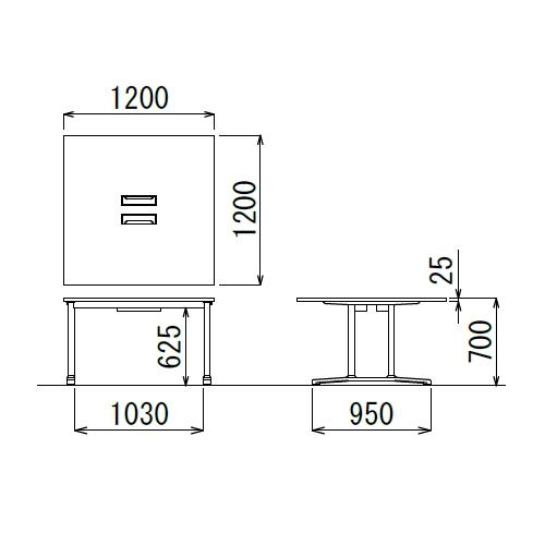 会議用テーブル WAL-1212 W1200×D1200×H700(mm) ブラックカラー&アルミダイキャストベース脚商品画像2