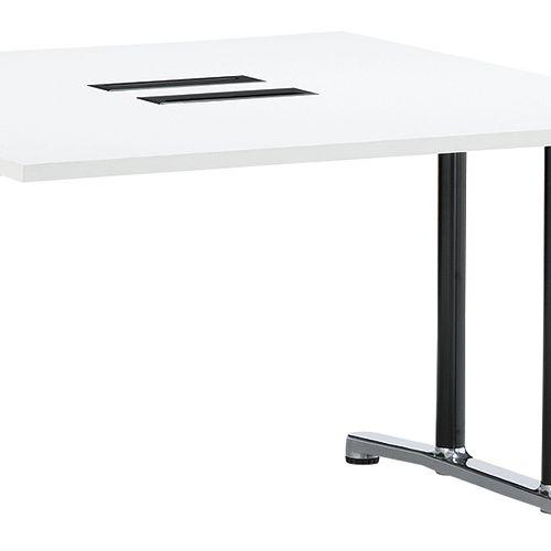 会議用テーブル WAL-1212 W1200×D1200×H700(mm) ブラックカラー&アルミダイキャストベース脚商品画像7