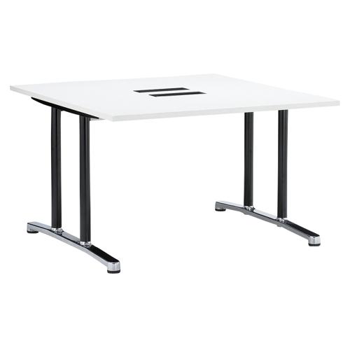 会議用テーブル WAL-1212 W1200×D1200×H700(mm) ブラックカラー&アルミダイキャストベース脚のメイン画像