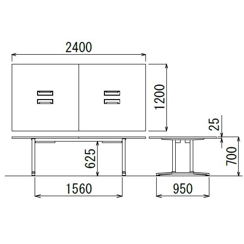 会議用テーブル WAL-2412 W2400×D1200×H700(mm) ブラックカラー&アルミダイキャストベース脚商品画像2