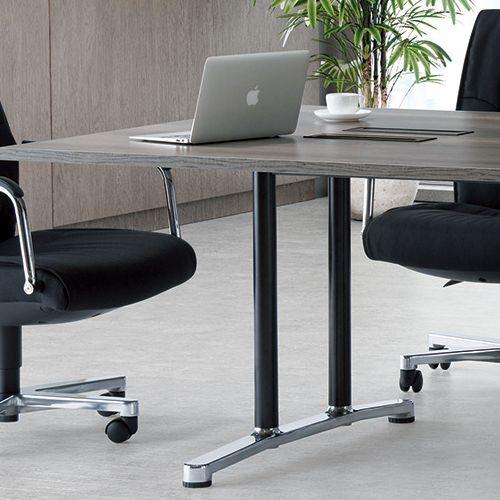 会議用テーブル WAL-2412 W2400×D1200×H700(mm) ブラックカラー&アルミダイキャストベース脚商品画像8