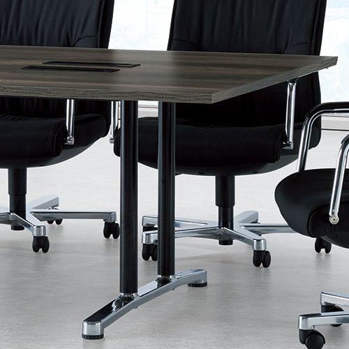 会議用テーブル WAL-2412 W2400×D1200×H700(mm) ブラックカラー&アルミダイキャストベース脚商品画像9