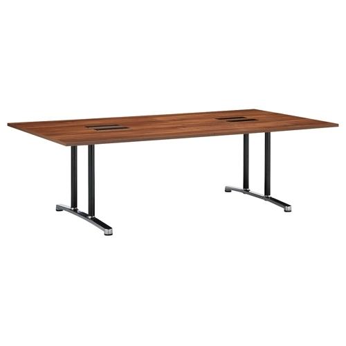 会議用テーブル WAL-2412 W2400×D1200×H700(mm) ブラックカラー&アルミダイキャストベース脚のメイン画像