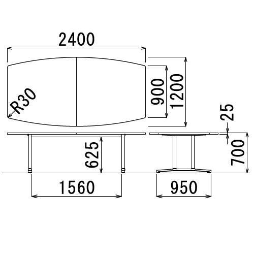 テーブル(会議用) アイコ 2本固定脚 WAL-2412B W2400×D1200×H700(mm) ボート形(舟形)天板 アルミダイキャストベース商品画像3