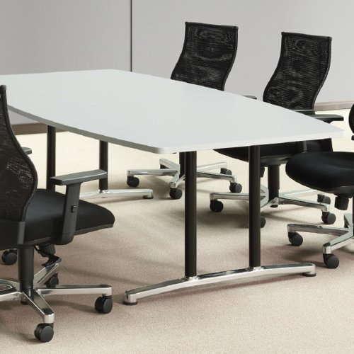テーブル(会議用) アイコ 2本固定脚 WAL-2412B W2400×D1200×H700(mm) ボート形(舟形)天板 アルミダイキャストベース商品画像5