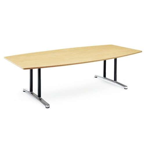 【廃番】会議用テーブル 2本固定脚 WAL-2412B W2400×D1200×H700(mm) ボート形(舟形)天板 アルミダイキャストベースのメイン画像