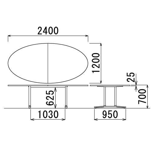 テーブル(会議用) 2本固定脚 WAL-2412E W2400×D1200×H700(mm) タマゴ形(卵形)天板 アルミダイキャストベース商品画像3
