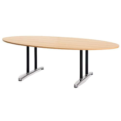 【廃番】会議用テーブル 2本固定脚 WAL-2412E W2400×D1200×H700(mm) タマゴ形(卵形)天板 アルミダイキャストベースのメイン画像