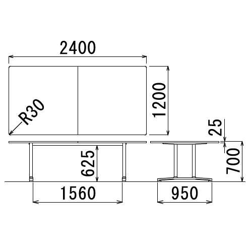 テーブル(会議用) アイコ 2本固定脚 WAL-2412K W2400×D1200×H700(mm) 角形天板 アルミダイキャストベース商品画像3