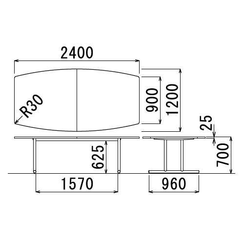 【廃番】会議用テーブル 2本固定脚 WT-2412B W2400×D1200×H700(mm) ボート形(舟形)天板 クロームメッキ商品画像3