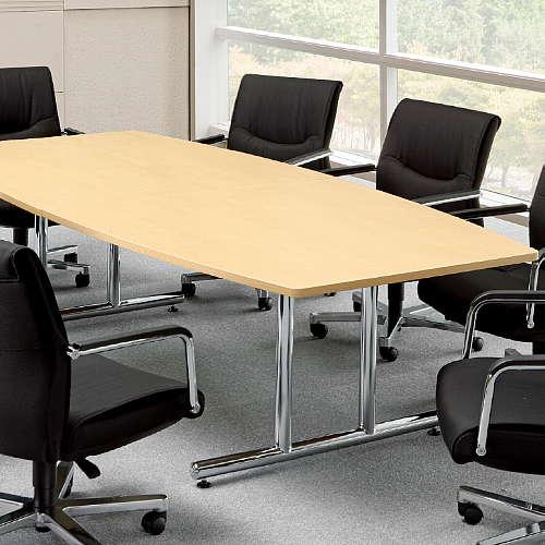 【廃番】会議用テーブル 2本固定脚 WT-2412B W2400×D1200×H700(mm) ボート形(舟形)天板 クロームメッキ商品画像4