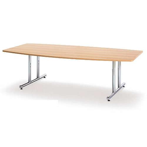 【廃番】会議用テーブル 2本固定脚 WT-2412B W2400×D1200×H700(mm) ボート形(舟形)天板 クロームメッキのメイン画像