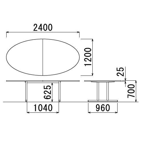 【廃番】会議用テーブル 2本固定脚 WT-2412E W2400×D1200×H700(mm) タマゴ形(卵形)天板 クロームメッキ商品画像3