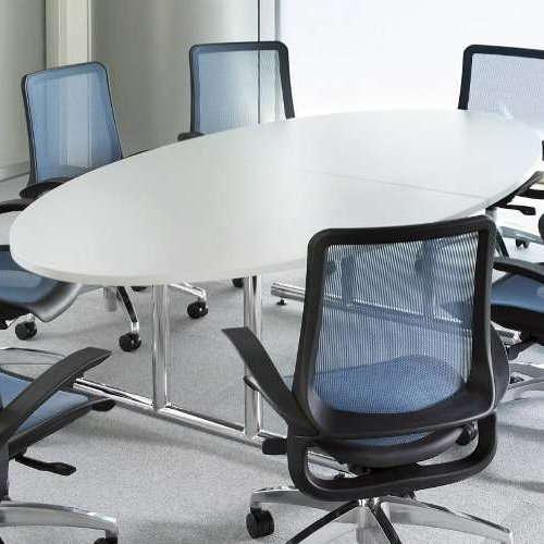 【廃番】会議用テーブル 2本固定脚 WT-2412E W2400×D1200×H700(mm) タマゴ形(卵形)天板 クロームメッキ商品画像4