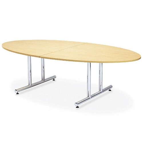 【廃番】会議用テーブル 2本固定脚 WT-2412E W2400×D1200×H700(mm) タマゴ形(卵形)天板 クロームメッキのメイン画像