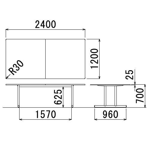 テーブル(会議用) アイコ 2本固定脚 WT-2412K W2400×D1200×H700(mm) 角形天板 クロームメッキ商品画像3