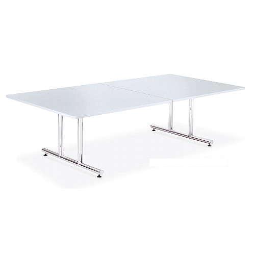 テーブル(会議用) アイコ 2本固定脚 WT-2412K W2400×D1200×H700(mm) 角形天板 クロームメッキのメイン画像