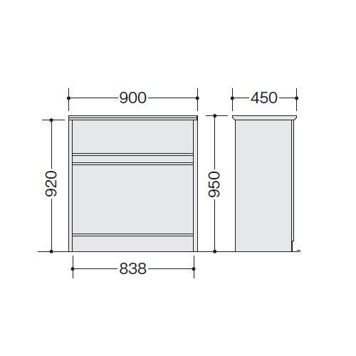 【WEB販売休止中】カウンター ハイカウンター ナイキ XC型 フルオープンタイプ XC0990NH W900×D450×H950(mm)商品画像2