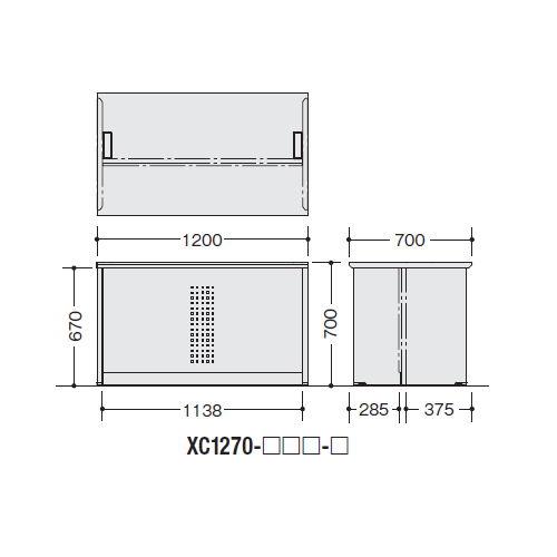 カウンター ローカウンター XC型 配線ダクト付き XC1270 W1200×D700×H700(mm)商品画像2