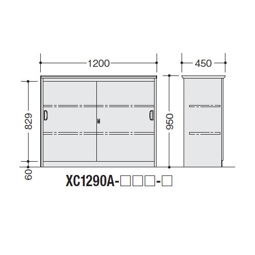 カウンター ハイカウンター XC型 鍵付き・総扉タイプ XC1290A W1200×D450×H950(mm)商品画像2