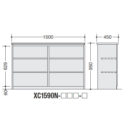 【WEB販売休止中】カウンター ハイカウンター ナイキ XC型 オープンタイプ XC1590N W1500×D450×H950(mm)商品画像2
