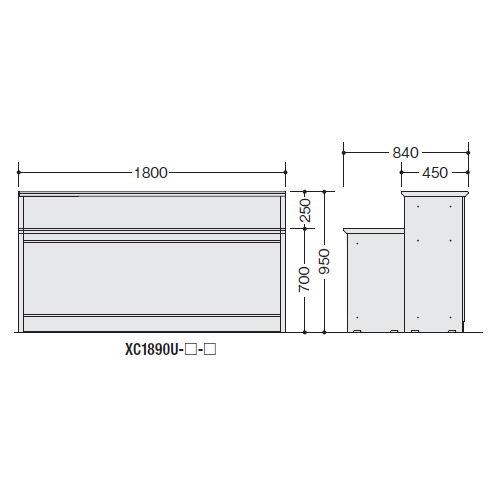 カウンター 受付カウンター ナイキ XC型 ハイカウンター XC1890U W1800×D840×H950(mm)商品画像2