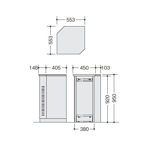 カウンター 外ハイコーナー90° ナイキ XC型 ハイカウンター XCR9090 W553×D553×H950(mm)商品画像2
