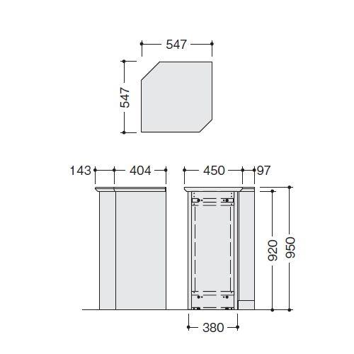 カウンター 内ハイコーナー90° XC型 ハイカウンター XCR9091 W547×D547×H950(mm)商品画像2