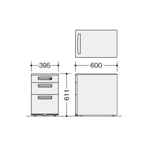 ワゴン 3段 ナイキ XE型 XE046XC-W W395×D600×H611(mm)商品画像2