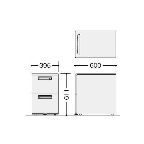 ワゴン 2段 ナイキ XE型 XE046YC-W W395×D600×H611(mm)商品画像2