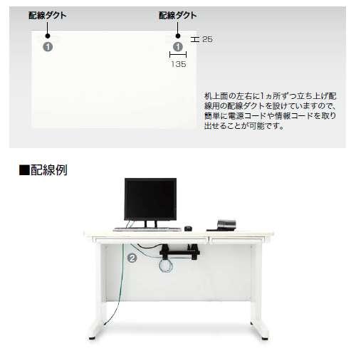 平デスク ナイキ XED型 XED087FDN W800×D700×H700(mm) 引き出し無し商品画像6