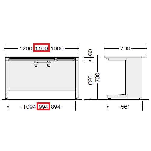 平デスク ナイキ XED型 XED117F W1100×D700×H700(mm) 中央引き出し2本商品画像3
