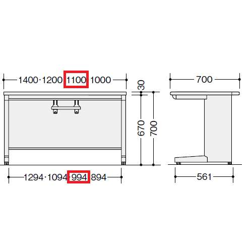 平デスク ナイキ XED型 XED117FDN W1100×D700×H700(mm) 引き出し無し商品画像2