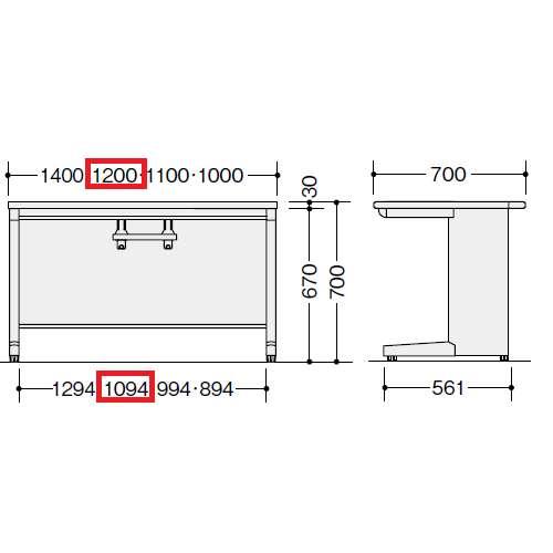 平デスク ナイキ XED型 XED127FDN W1200×D700×H700(mm) 引き出し無し商品画像3